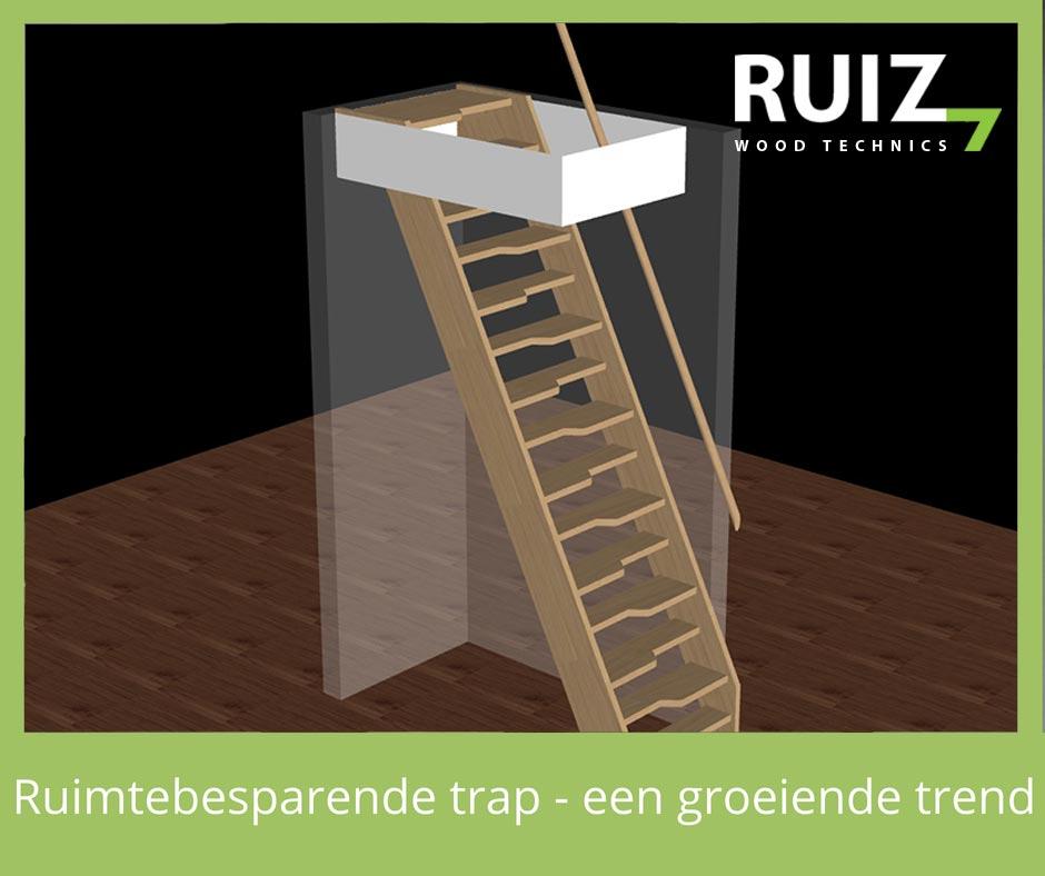 ruimtebesparende trap hout