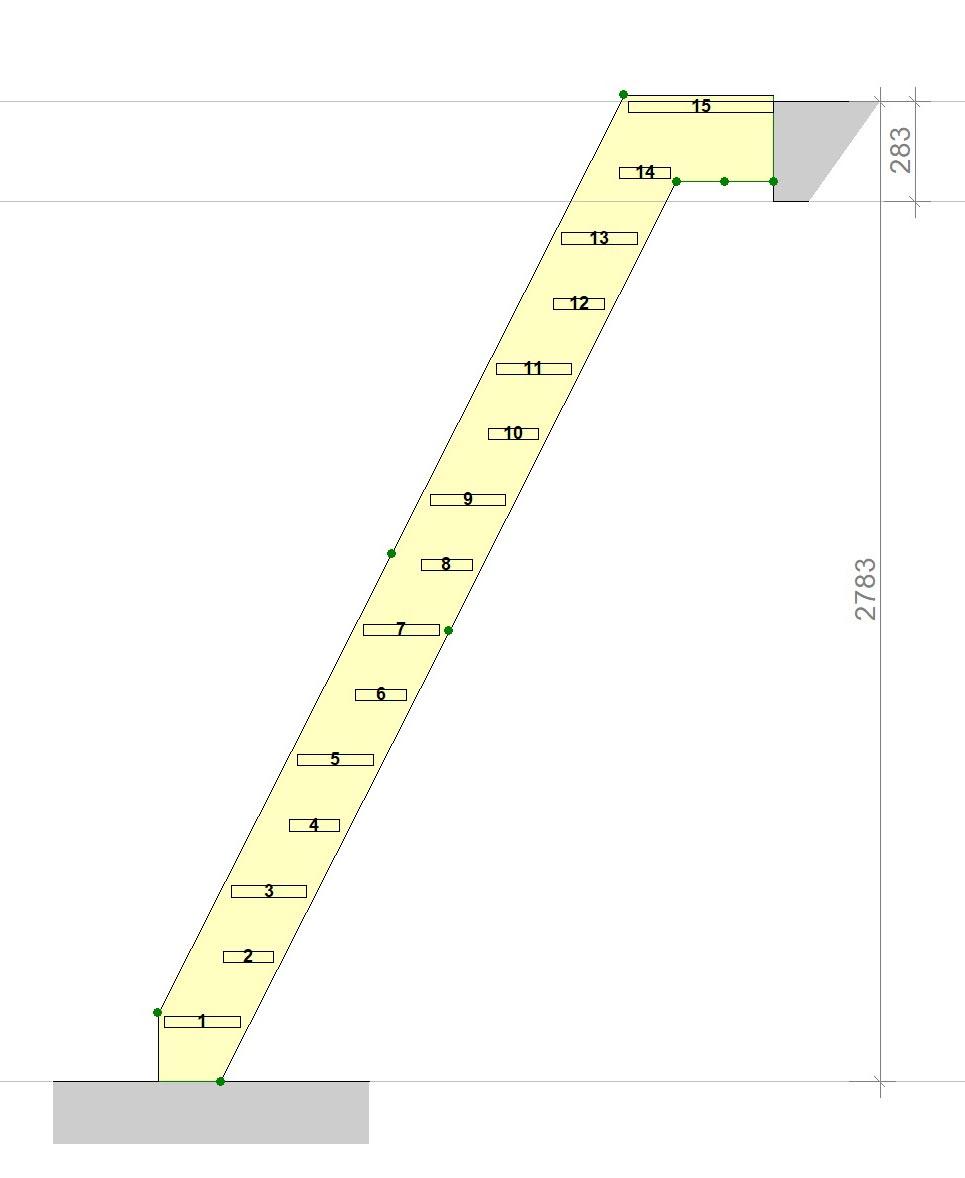 ruimtebesparende trap zijaanzicht tekening