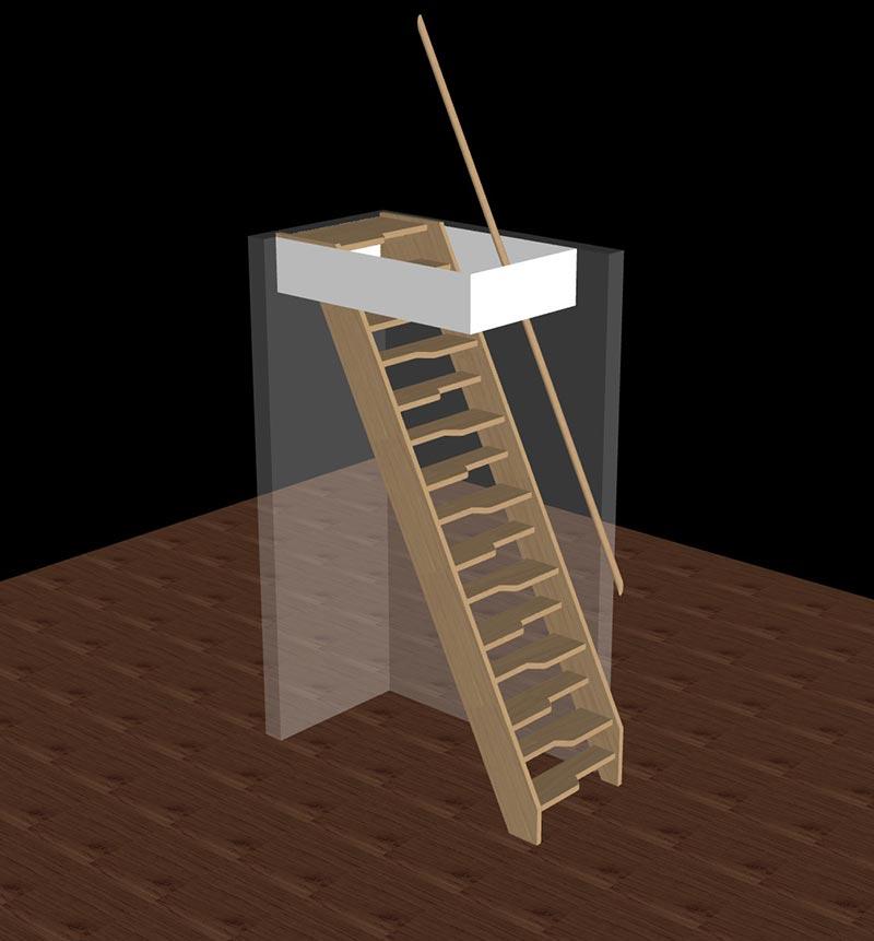 ruimtebesparende trap 3D hout molenaarstrap