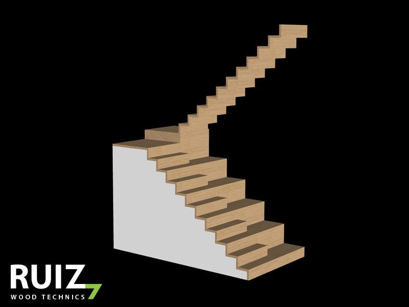 Multiplex ondertrappen met daarop een eiken bekleding, op hoogste bordes start een gesloten zwevende trap