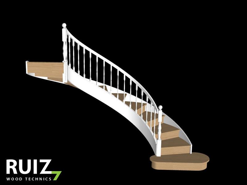 3D tekening van een gedraaide trap in cottage stijl.