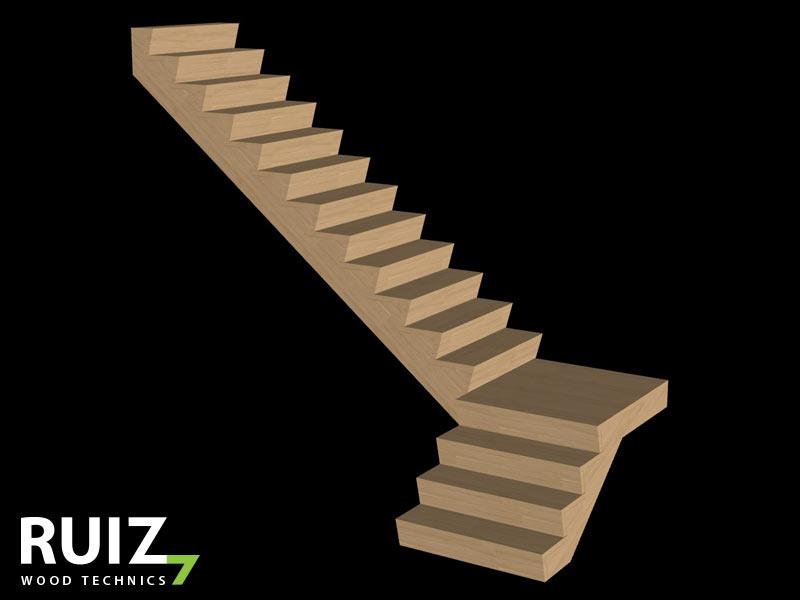 Kwartdraaitrap 3D tekening met bordes in Z look