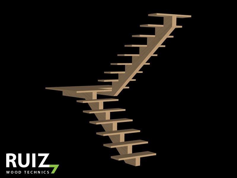 houten U trap met bordes uit twee delen met centrale boom zelfdragende trap
