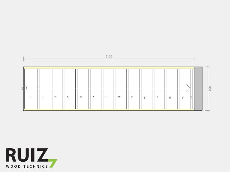 grondplan rechte trap 14 treden hout
