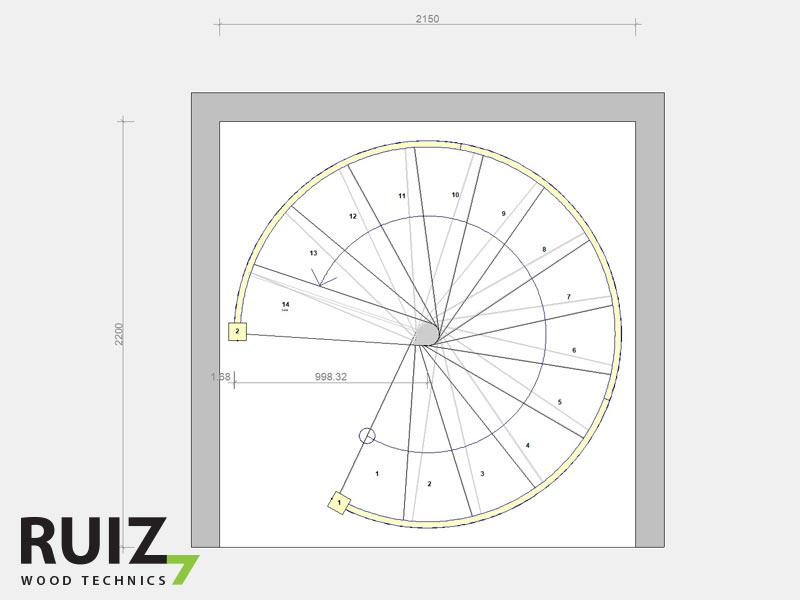 Grondplan spiraaltrap design