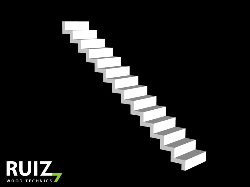 Gesloten zwevende trap uit hout, wit gelakt